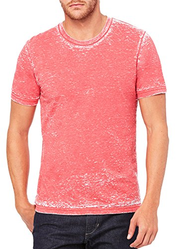 Acid Wash Color (Bella + Canvas Unisex Poly-Cotton Short-Sleeve T-Shirt (3650)- RED ACID WASH,L)