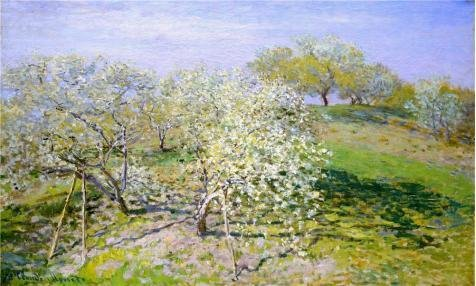 Oil Painting 'Apple Trees In Bloom, 1873 By Claude Monet', 20 x 33 inch / 51 x 85 cm , on High Definition HD canvas prints is for Gifts And - Center Westland Town