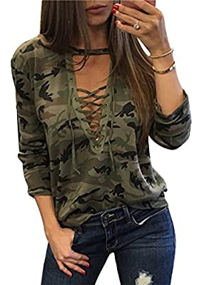 ABCWOO Womens Long Sleeve Shirt Deep V Neck Blouse Bandage Camouflage Pint Sexy Blouses