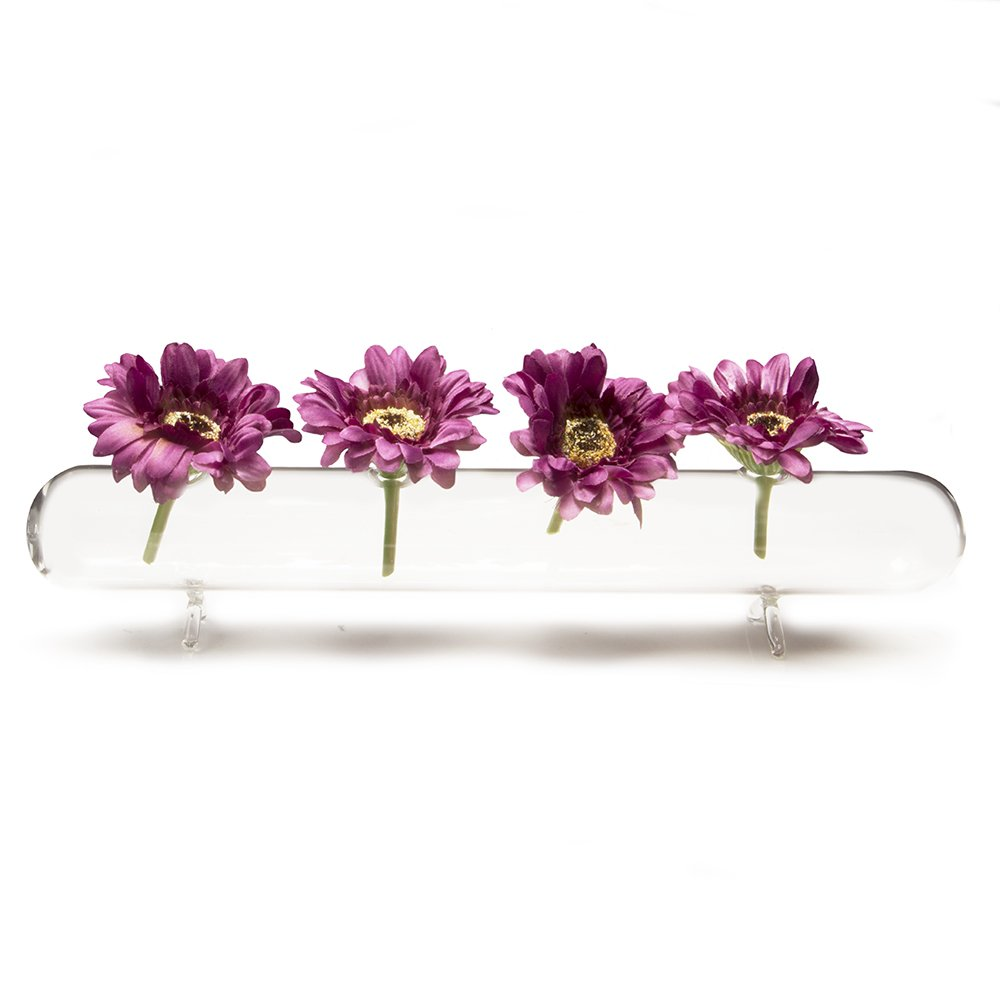225 & Chive - Hudson Flute Long Cylinder Unique Clear Glass Flower Vase Long and Low Laying Elegant Centerpiece Vase Decorative Vase for Home Decor and ...