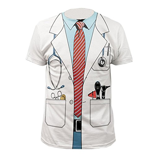 [Doctor Officer Funny Party Uniform 3D T Shirt Adult Cosplay Costume Outfit Tops] (Party Rock Crew Costume)