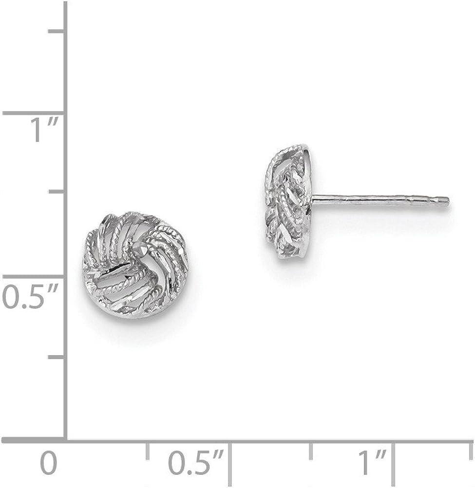 14kt with Rhodium Polished Diamond Cut Open Swirl Post Earrings