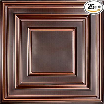 schoolhouse faux tin ceiling tile antique copper 25 pack - Faux Tin Ceiling Tiles