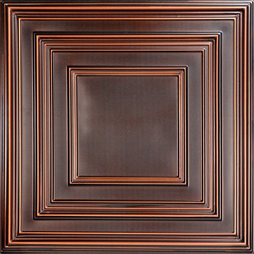Schoolhouse-Faux Tin Ceiling Tile - Antique Copper 25-Pack by Decoraids