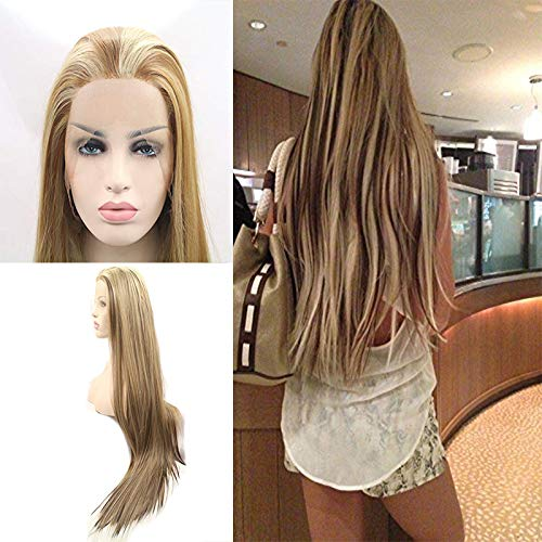 Blonde Brown Mixed Color Max 61% OFF Wigs Straight Silky Syntheti Lowest price challenge Ombre Long
