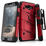 Zizo BOLT Series compatible with Samsung Galaxy J3 Emerge Case Military Grade Drop Tested with Tempered Glass Screen Protector Holster RED BLACK