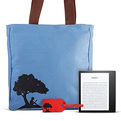 All-New Kindle Oasis Travel Bundle including Kindle Oasis 7″ E-Reader (Champagne Gold, 32GB, Wifi, Special Offers), Kindle branded tote bag, Kindle branded luggage tags (2) – red