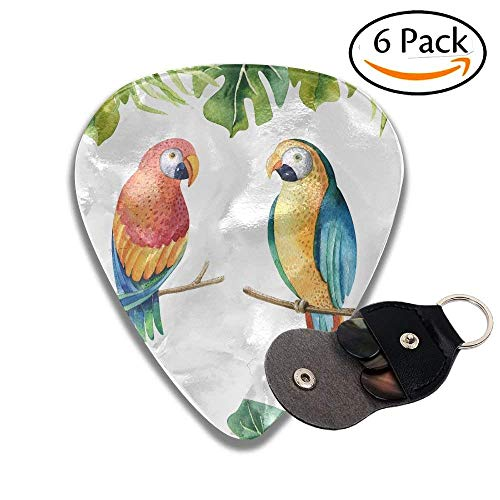 r Tropical Plants Set And Parrot Exotic Palm Leaves Jungle Tree Brazil Colorful Celluloid Guitar Picks Plectrums For Guitar Bass .6 Pack 71mm ()