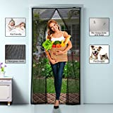 OMorc Magnetic Screen Door - Fiberglass Heavy Duty Mesh Curtain and Full Frame Velcro, Close Automatically No Mosquitoes and Bugs, Fits Door Openings Up to 34''x82'' Max