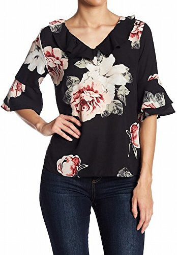 Harve Bernard Clothing (Harve Benard Womens Medium Floral Ruffle Trim Blouse Black M)