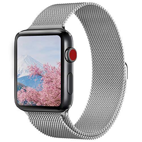 MORISHIKA コンパチブル apple watch バンド 42mm 44mm アップルウォッチバンド コンパチブルアップルウォッチ4 ベルト ミラネーゼループ ステンレス留め金製 長度調節でき コンパチブルapple watch series4/3/2/1に対応(42mm,44mm,シルバー)