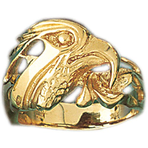 14K Yellow Gold Eagle Head Men's