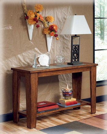 Ashley Furniture Signature Design   Toscana Sofa Table   Wood With Natural  Slate Tiles And Lower