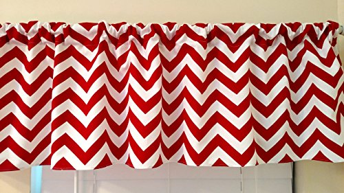 Chevron red Curtain valance, window treatments, red & white zig zag, stripes, kitchen, kids, nursery