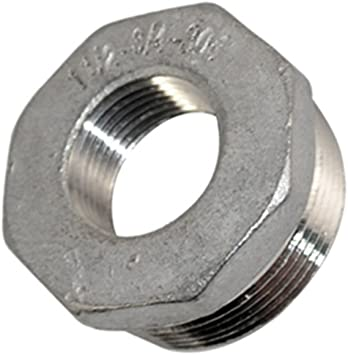 Thread Reducer Bushing 1-1//2 Male x 3//4 Female Adapter Pipe Fitting with Stainless Steel 304 NPT