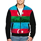 988Iron Azerbaijan Flag Art Design Men's Full-Zipper Hoodie Jacket