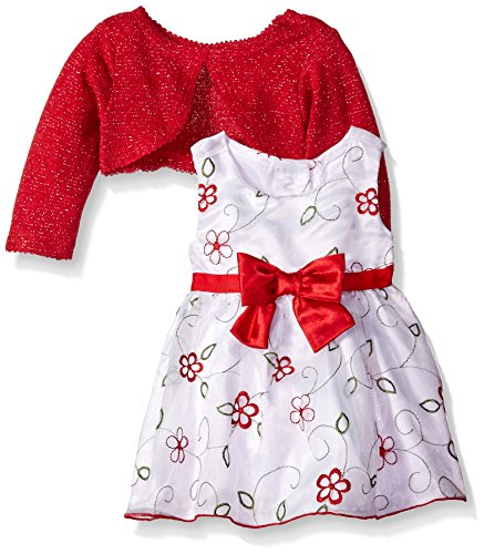 2 Piece Embroidered Tie - Youngland Baby Girls' 2 Piece Dress Embroidered Dress With Cardigan, Red/White, 24 Months