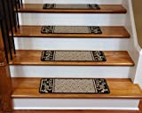 Dean Washable Non-Skid Carpet Stair Treads - Black Scroll Border (13)