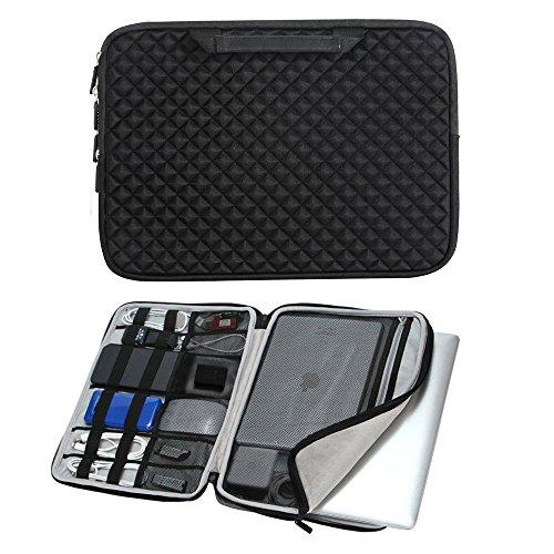 iCozzier 13-13.3 Inch Handle Diamond Foam Laptop Sleeve, Shock Resistant Electronics Accessories Storage Handbag /Stylish Travel Organizer for Laptop/ Ultrabook/ Notebook/ MacBook – Black