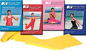 Moving Free Longevity Solution DVD 4 Set INCLUDING 4 ft Resistance Band, by Mirabai Holland Starter Exercise Program for Beginners, Boomers and Seniors Cardio, Strength and Stretch Exercises