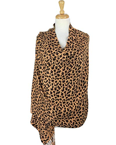 f64193a919ed Paskmlna Animal Print Fringed Shoulder Pashmina Wrap Scarf - Leopard Zebra  Patterns (Brown Leopard)