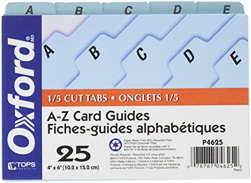 Oxford A-Z Index Card Guide Set, 4 x 6 Inches, Blue Pressboard, 25 per Set (P4625) (Index Oxford Dividers Card)