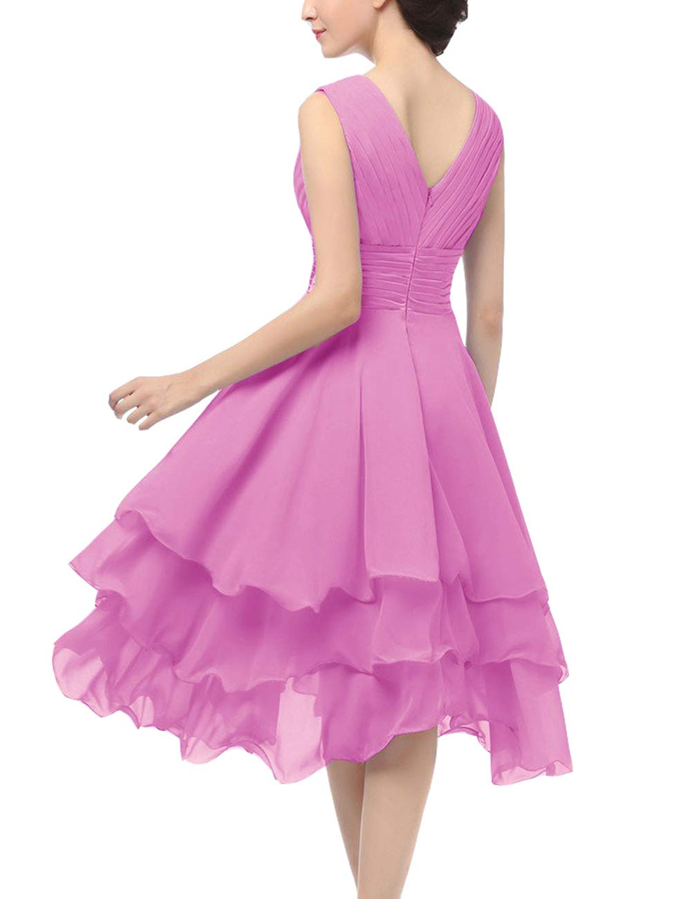 Uther Short Bridesmaid Dress Chiffon Formal Prom Dresses V-Neck Party Gown Sleeveless
