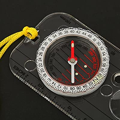 Mini Compass Scale Bar Angle Ruler Magnifying Glass Orienteering Tools