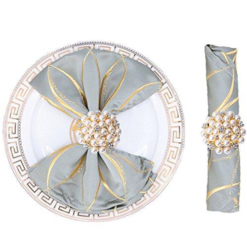 pkin Ring Pearl Beaded Diamante Rhinestone Crystal Napkin Holder Table Setting Wedding Décor, Gold ()