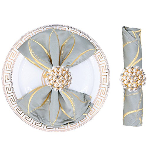 JulyLab Set of 6 Napkin Ring Pearl Beaded Diamante Rhinestone Crystal Napkin Holder Table Setting Wedding Décor, Gold