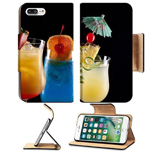 Liili Premium Apple iPhone 7 Plus Flip Pu Leather Wallet Case Tequila Sunrise Blue Lagoon and Bahama Mama cocktails over black Photo 14535832 Simple Snap Carrying