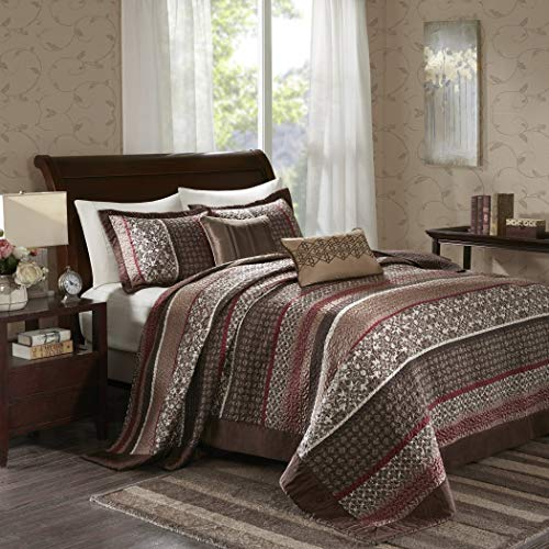 - 5 Piece 118x120 Jacquard Brown Oversized King Bedspread Set To The Floor Set, Red Ivory Medallion Stripes Bedding Drapes Over Edge Hangs Down Sides Extra Long, Polyester