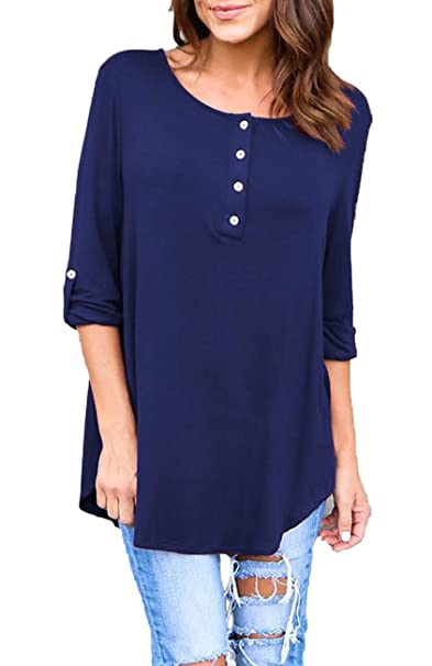 814c803454b BLUETIME Shirts for Leggings Women's Button Down Shirt Casual Flowy Top  Blouses Navy Blue S