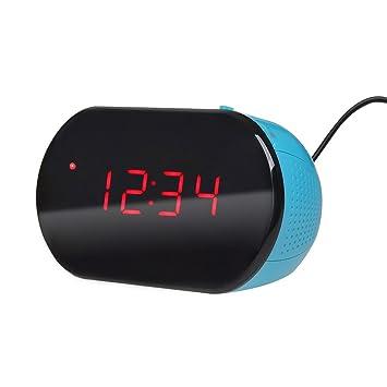 Excelvan LK-T091- Radio Despertador Reloj Escritorio Digital (Alarma, Temporizador, Pantalla LED, 24 Horas, 10CH FM, Sintonización PLL) (Azul): Amazon.es: ...