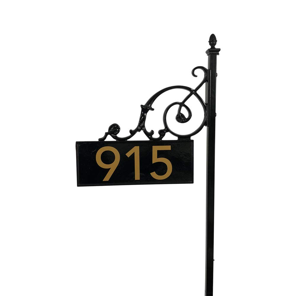 ADDRESSES OF DISTINCTION Black Charleston Address Post with Reflective Numbers - 48'' Tall Customized House Marker - Double Sided to Help Emergency Vehicles Find Your Home