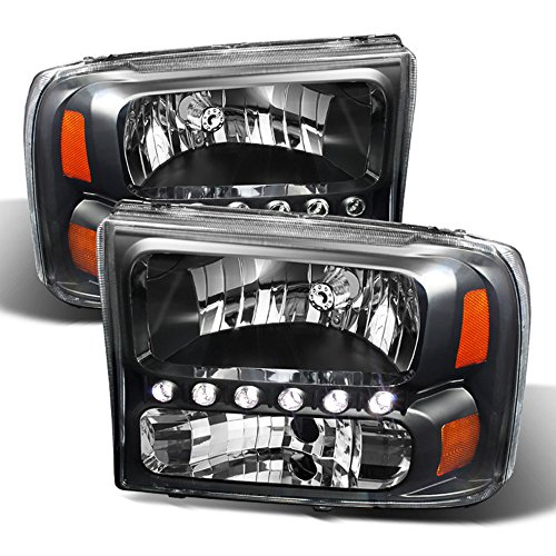 ACANII - For Black 1999-2004 Ford F250/F350/F450 Superduty Excursion LED Headlights Headlamps Driver + Passenger Side