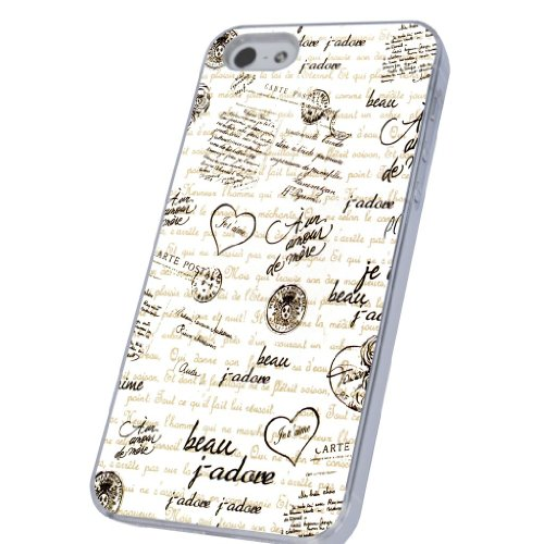 Vintage Shabby Chic Cute French Letters French Love Stil Designer iphone 5 5S Hülle Case Back Cover Metall und Kunststoff-Löschen Frame