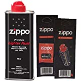 Zippo Lighter Fluid Fuel Petrol 125ml Tin + Wick + 6 Flints