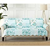 Great Bay Home Patchwork Scalloped Stain Resistant Printed Furniture Protector. By Brand. (Sofa, Blue)