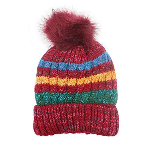 (Bolley Joss Women Winter Color Strip Knitted Hat Warm Knit Crochet Ski Beanie Hat with Pompoms)