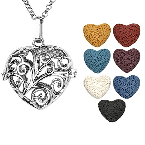 - JOVIVI Antique Silver Aromatherapy Essential Oil Diffuser Necklace Vines Heart Locket Pendant with 7 Dyed Multi-Colored Lava Stones