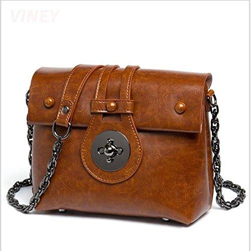 Rrock Wild Messenger Handtaschen Mode Kette Kleine Square Leder Handtaschen Brown