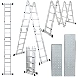 ARKSEN 15.5FT Platform Multi-Purpose Ladder Folding Multi-Fold Step Aluminum EN131 Scaffold Extension with 2-Free Plate