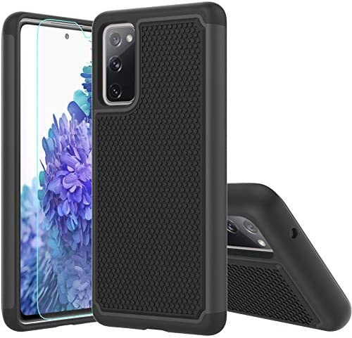 Galaxy S20 FE Case,Samsung S20 FE 5G Case,with HD Screen Protector,[Shock Absorption] Hybrid Dual Layer TPU & Hard Back Cover Bumper Protective Case Cover for Samsung Galaxy S20 FE 5G (Black Armor)