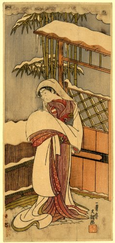 Japanese Print Nidaime ichikawa monnosuke. TITLE TRANSLATION: Kabuki Actor Ichikawa Monnosuke II plays as a lady standing in snow