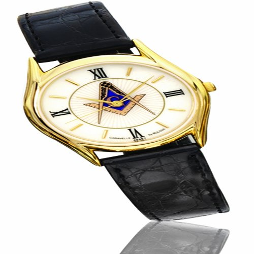 Men's Caravelle By Bulova Leather Strap Watch From Masonic