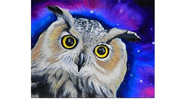 HORNED OWL Night Bird 8x10 Signed Art PRINT of Original Oil Painting by VERN