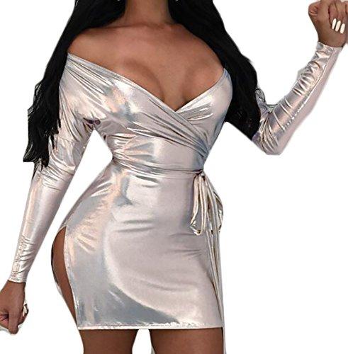 metallic colorblock bandage dress - 9
