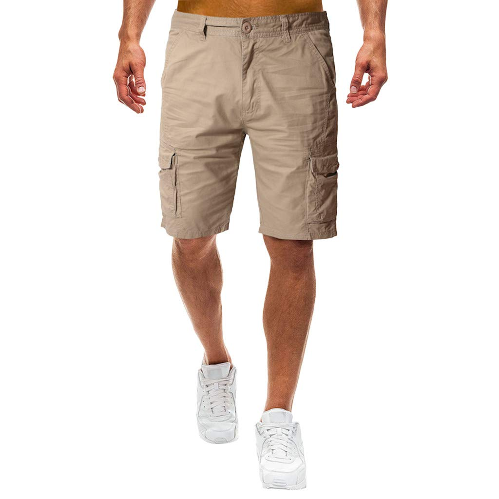STORTO Mens Solid Casual Shorts Summer Fashion Pockets Workout Slim Fit Working Cargo Shorts Khaki