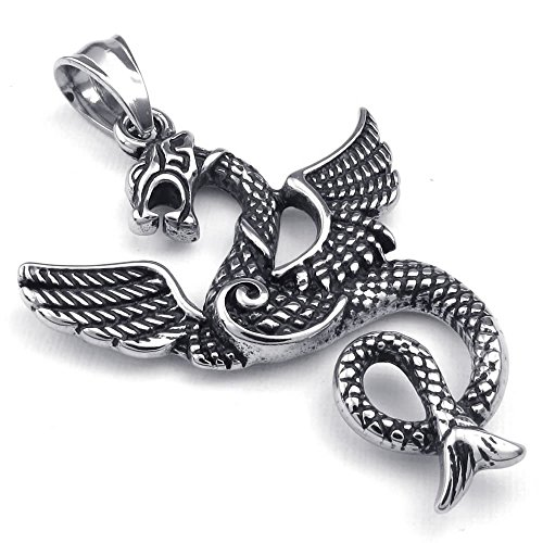 """KONOV Jewelry Mens Biker Gothic Dragon Stainless Steel Pendant Necklace, Black Silver, 24"""" inch Chain"""